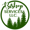 Bishop Services Logo, A circle wrapping around the Calligraphic Name Bishop Services LLC and 4 pine trees of various heights, all in a rich forest green color on a white background.